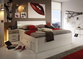 Doppelbett Nachtkommoden Bett 180 x 200 cm Ehebett weiß Eiche sonoma Schublade1