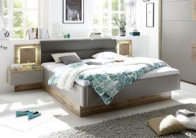 Doppelbett Nachtkommoden CAPRI Bett Ehebett Schlafzimmer 180x200 grau Eiche1