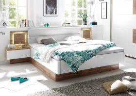 Doppelbett Nachtkommoden CAPRI Bett Ehebett Schlafzimmer 180x200 weiß Eiche1