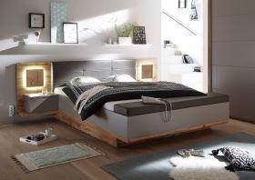 Doppelbett Nachtkommoden CAPRI XL Bett Ehebett Fussbank 180x200 grau Eiche1