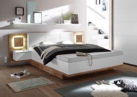 Doppelbett Nachtkommoden CAPRI XL Bett Ehebett Fussbank 180x200 weiß Eiche1