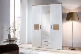 Drehtürenschrank Kleiderschrank Schrank weiß mit Spiegel 135 cm1