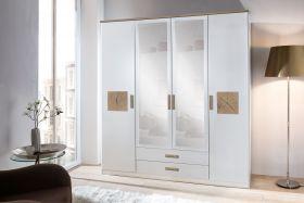 Drehtürenschrank Kleiderschrank Schrank weiß mit Spiegel 180 cm1