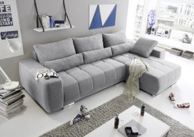 Eckcouch Lopez Couch Schlafsofa Funktionssofa ausziehbar hellgrau 305 cm1