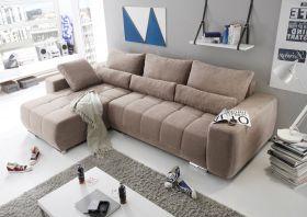 Eckcouch Lopez Couch Schlafsofa Funktionssofa ausziehbar taupe 305 cm1