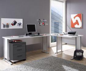 Eckschreibtisch OFFICE LINE Winkelschreibtisch Schreibtisch Büro Weiss1