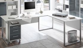 Eckschreibtisch OFFICE LUX Winkelschreibtisch Schreibtisch Rollcontainer Grau1
