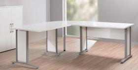 Eckschreibtisch PRIMA Winkelschreibtisch Schreibtisch in Weiß Grau1