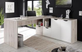 Eckschreibtisch QUADRO Winkelschreibtisch Schreibtisch Büro in Sandeiche-weiß1