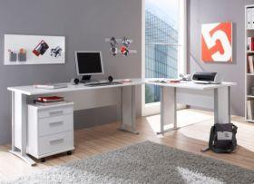 Eckschreibtisch Winkelschreibtisch Computertisch Schreibtisch Tisch Büro weiß1