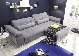 Ecksofa Couch CASA Schlafcouch Schlafsofa Funktionssofa ausziehbar dunkelgrau L1
