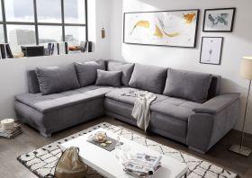 Ecksofa Couch MALIA Sofa Schlafsofa Schlafcouch dunkel grau L-Form universell1