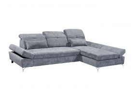 Ecksofa Couch MELFI Sofa Schlafcouch Bettsofa Sofabett grau dunkel L-Form rechts1