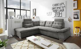 Ecksofa Couch NALO Sofa Schlafcouch Bettsofa braun-schwarz stone L-Form links1