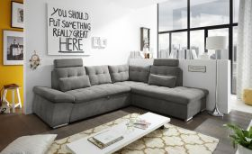 Ecksofa Couch NALO Sofa Schlafcouch Bettsofa braun-schwarz stone L-Form rechts1