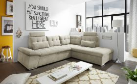 Ecksofa Couch NALO Sofa Schlafcouch Bettsofa sand beige L-Form rechts1
