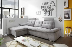 Ecksofa Couch NALO Sofa Schlafcouch Bettsofa schlamm grau L-Form links1