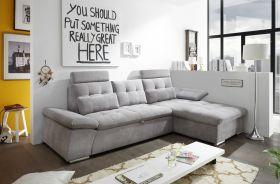 Ecksofa Couch NALO Sofa Schlafcouch Bettsofa schlamm grau L-Form rechts1