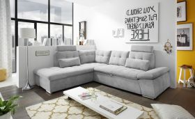 Ecksofa Couch NALO Sofa Schlafcouch Bettsofa silber hellgrau L-Form links1