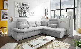 Ecksofa Couch NALO Sofa Schlafcouch Bettsofa silber hellgrau L-Form rechts1