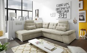 Ecksofa Couch NALO XL Sofa Schlafcouch Bettsofa sand beige L-Form links1