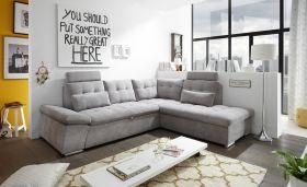 Ecksofa Couch NALO XL Sofa Schlafcouch Bettsofa schlamm grau L-Form rechts1