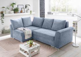 Ecksofa Couch Schlafcouch Schlafsofa blau denim PU-Topper L-Form universell1