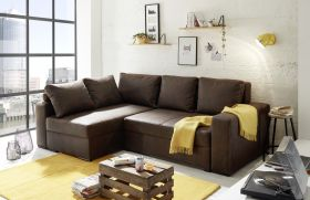 Ecksofa Couch Schlafcouch Schlafsofa braun Lederlook PU-Topper L-Form universell1