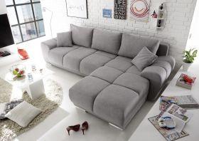 Ecksofa Couch Schlafcouch Schlafsofa Funktionssofa ausziehbar hellgrau 289 cm1