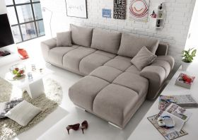 Ecksofa Couch Schlafcouch Schlafsofa Funktionssofa ausziehbar Taupe 289 cm1