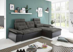 Ecksofa Couch Schlafcouch Schlafsofa Lederlook schwarz grau Ottomane rechts L1