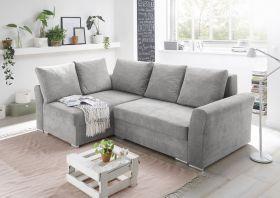 Ecksofa Couch Sofa Jasper Schlafsofa silber hellgrau Ottomane universell L-Form1
