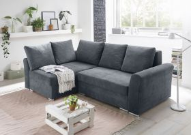 Ecksofa Couch Sofa Schlafcouch Schlafsofa anthrazit PU-Topper L-Form universell1