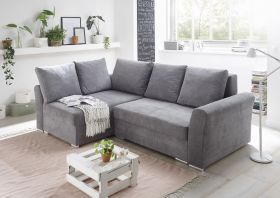 Ecksofa Couch Sofa Schlafcouch Schlafsofa dunkelgrau Topper L-Form universell1