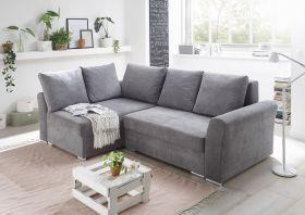 Ecksofa Couch Sofa Schlafcouch Schlafsofa dunkelgrau Topper L-Form universell1