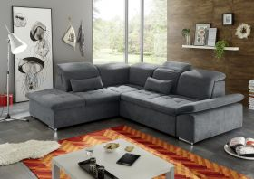 Ecksofa Couch WAYNE Sofa Schlafcouch Bettsofa Sofabett anthrazit L-Form links1
