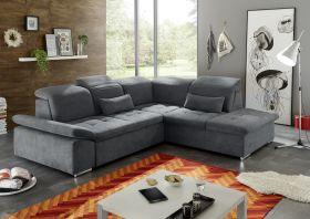 Ecksofa Couch WAYNE Sofa Schlafcouch Bettsofa Sofabett anthrazit L-Form rechts1