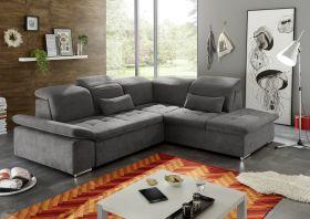 Ecksofa Couch WAYNE Sofa Schlafcouch Bettsofa Sofabett braun L-Form rechts1
