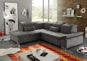 Ecksofa Couch WAYNE Sofa Schlafcouch Bettsofa Sofabett braunschwarz L-Form links1