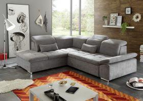 Ecksofa Couch WAYNE Sofa Schlafcouch Bettsofa Sofabett dunkelgrau  L-Form links1
