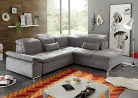 Ecksofa Couch WAYNE Sofa Schlafcouch Bettsofa Sofabett dunkelgrau L-Form rechts1