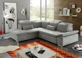 Ecksofa Couch WAYNE Sofa Schlafcouch Bettsofa Sofabett schlamm grau L-Form links1