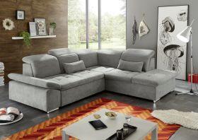 Ecksofa Couch WAYNE Sofa Schlafcouch Bettsofa Sofabett schlammgrau L-Form rechts1