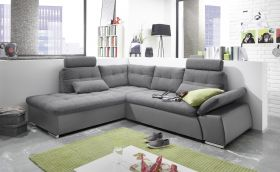 Ecksofa JAK Couch Schlafcouch Sofa Lederlook dunkel grau Ottomane links L-Form1