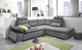 Ecksofa JAK Couch Schlafcouch Sofa Lederlook dunkel grau Ottomane rechts L-Form1