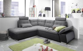 Ecksofa JAK Couch Schlafcouch Sofa Lederlook grau schwarz Ottomane links L-Form1