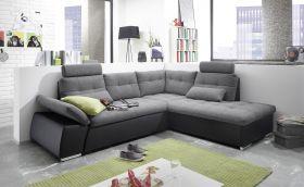 Ecksofa JAK Couch Schlafcouch Sofa Lederlook grau schwarz Ottomane rechts L-Form1