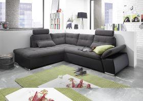 Ecksofa JAK Couch Schlafcouch Sofa Lederlook schwarz grau Ottomane links L-Form1
