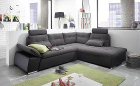 Ecksofa JAK Couch Schlafcouch Sofa Lederlook schwarz grau Ottomane rechts L-Form1