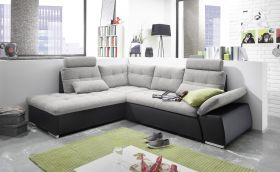 Ecksofa JAK Couch Schlafcouch Sofa Lederlook schwarz hellgrau L-Form links1